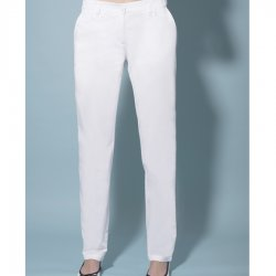 Women's trousers in satin fabric, with knit insert
