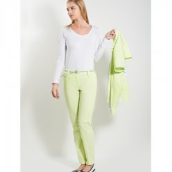 Ladies trousers with belt, Fashion Style, white, light blue, lemon green
