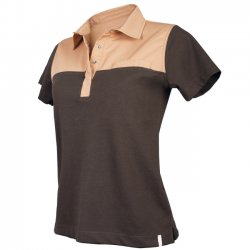 Women's polo-shirt, Two-tone, chocolate / tan, 1/2, 62 cm