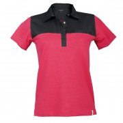 Women's polo-shirt, Two-tone, Pink / Black, 1/2, 62 cm