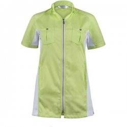Ladies Zipperkasack in material mix in light blue and lemon green, Fashion Style, half arm, 74 cm
