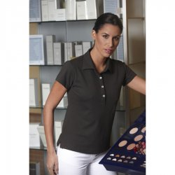 Ladies Polo Shirt,chocolate, 1/2, 58 cm