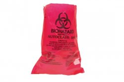 Autoclavable bags, BIOHAZARD symbol, W x L 210 x 280 mm, 20 µm, cardboard box 1 x 100 Warning Instruction and sterilization indicator patch